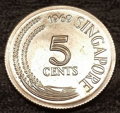 1969 Singapore Nickel - Five (5) Cents Coin - Uncirculated UNC