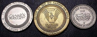 Lot of 3 Vintage Casino Gaming Tokens / Chips - Various Casinos - No Reserve