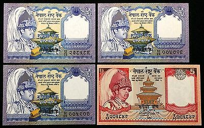 NEPAL: Lot of 4 Banknotes, 1 & 5 Rupees, UNC, P- 37, 46, 1981, 2002