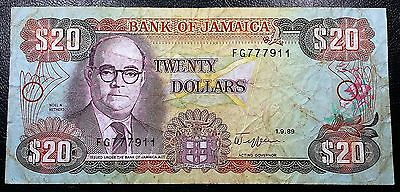 JAMAICA: 1989 $20 Banknote P-72c Signature 9 *NICE CONDITION* FREE COMBINED S/H