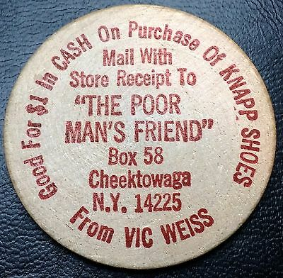 """Lucky Wooden Dollar (Nickel): Good For $1 Knapp Shoes """"The Poor Man's Friend"""" NY"""