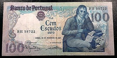 PORTUGAL: 1981 100 Escudos Banknote, Series RH, P-178b - FREE COMBINED S/H