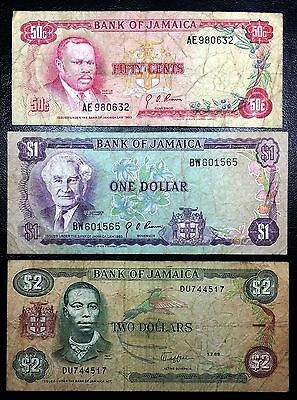 JAMAICA: 1960 1989 50 cents $1 $2 Banknotes, P-53 P-59 P-69 - FREE COMBINED S/H