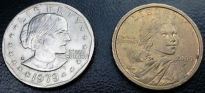 1979-S & 2000-P U.s. Dollar Coins - Free Combined Shipping