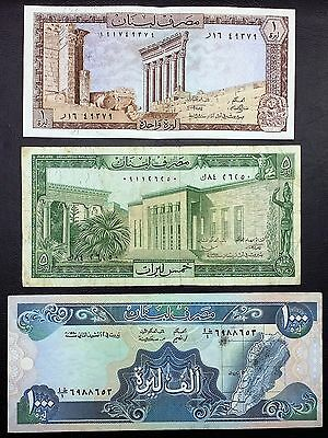 LEBANON: Lot of 3 Notes, 1, 5, 1000 Liras, P-61 62 69 ⭐️ FREE COMBINED S/H ⭐️