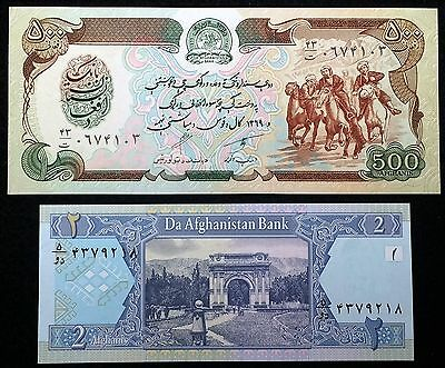 AFGHANISTAN: 1990 P-60b & 2002 P-65a 2 & 500 Afghanis Notes - Free Combined S/H