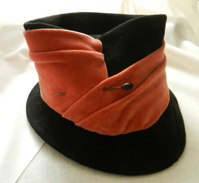Vintage Antique Ladies Hat - Little Mary Poppin's Style Felt with Velvet Band