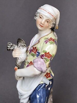 Antique Meissen Porcelain Butcher Chicken German Figurine Germany Dresden Figure