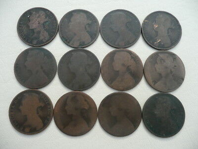 Lot of 12 Queen Victoria One Penny Coins of England - Bun Type pre 1895