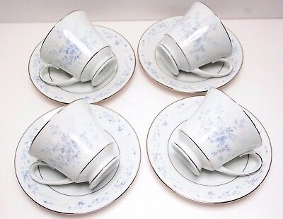 Lot of 4 Noritake Contemporary China CAROLYN 2693 Footed Cups and Saucers MINT!