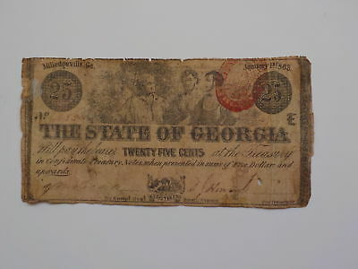Civil War Confederate 1863 25 Cents Note Milledgeville Georgia Paper Money CSA N