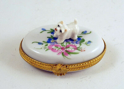 New French Limoges Trinket Box Cute Westie Dog Puppy On Colorful Flowers