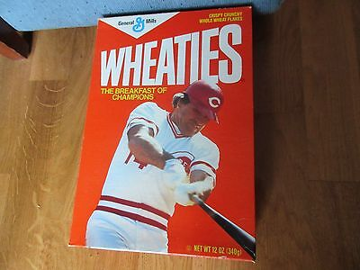 + Free  Cards   Wheaties Pete Rose Cereal Unopened Box 1986 Cereal Inside. 12 Oz