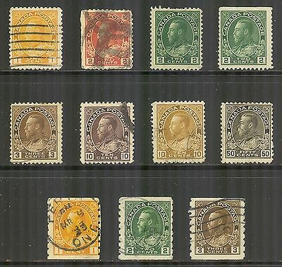 Canada #105/129, 1911-1925 King George V - Admiral Issues, 11 Different Used