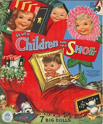 Vintage Uncut 1958 7 Children Live In Shoe Paper Doll Hd Laser Reproductin~Lo Pr
