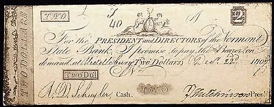 1807 Vermont State Bank $2 Reproduction Note - Free Combined Shipping