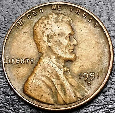 """1951D U.S. Lincoln Wheat Cent ***Plugged """"D"""" Error Coin*** Free Combined S/H"""