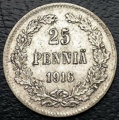 FINLAND: 1916 25 Pennia .750 Silver Coin, KM# 6, Schön# 4 - Free Combined S/H