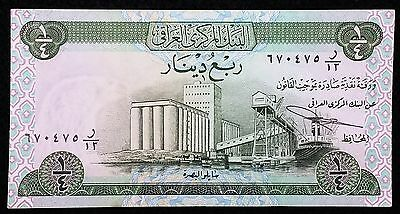 IRAQ: 1973 Quarter 1/4 Dinar Banknote, P-61 **UNC with Ripple** Combined S/H