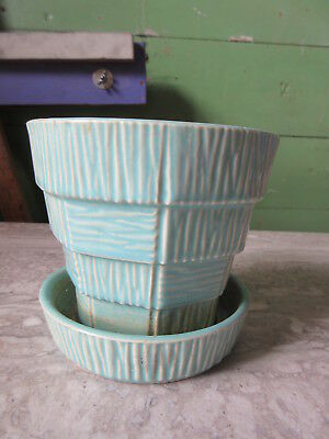 Old Vintage McCoy Turquoise Rustic Flower Pot Art Pottery USA