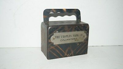 Vintage 1903 Peoples Bank Co. Coldwater Ohio Advertising Metal Copper  Coin Bank
