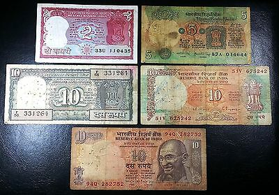 INDIA: Lot of 5 Notes, 2 & 5 & 10 Rupees P-53 69 80 88 89 ◢ FREE COMBINED S/H ◣