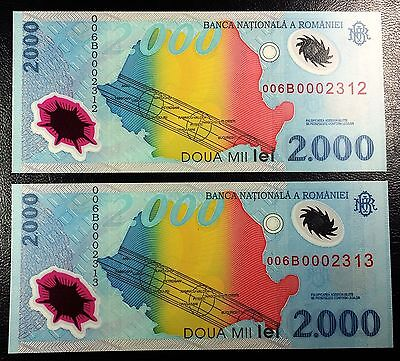 ROMANIA: Lot of 2 Consecutive 1999 2000 Lei Notes P-111 *UNC* LOW SERIAL NUMBERS