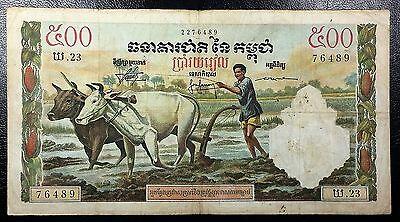 CAMBODIA: 1958-70 500 Riels Banknote P-14c, Water Buffalo ◢ FREE COMBINED S/H ◣