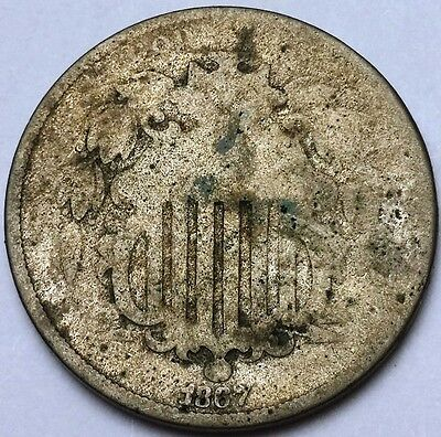 1867 Shield Nickel - 5 Cents ***SCARCE DATE*** Free Combined S/H