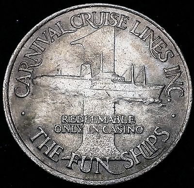 Vintage Carnival Cruise Lines $1 Slot Casino Gaming Token Chip - The Fun Ships