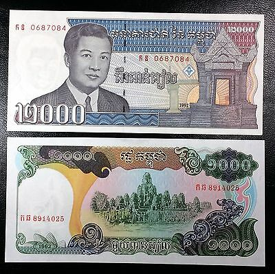 CAMBODIA: Lot of 2 UNC Notes, 1992 1000 & 2000 Riels, P-39, 40 ◢ COMBINED S/H ◣