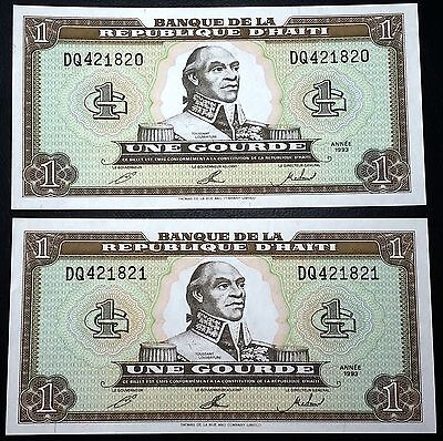 HAITI: 2 Consecutive 1993 1 Gourde Banknotes *UNC*- P-259 - FREE COMBINED S/H