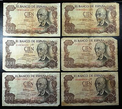 SPAIN: Lot of 6 Notes, 1970 100 Pesetas, P-152 ◢ FREE COMBINED S/H ◣