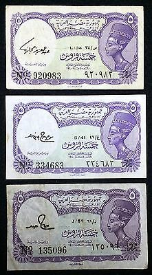 EGYPT: Lot of 3x 5 Piastres Notes, 1961, P-181a, 181f, 181j - Free Combined S/H