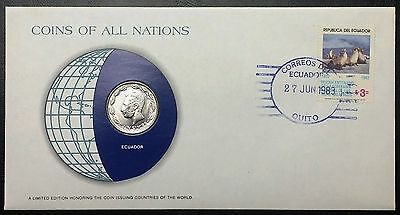 Coins of all Nations Series - 1980 Ecuador 1 Sucre - Coin & Stamp Set - BU