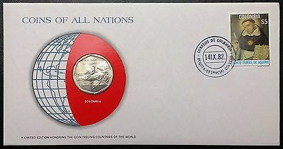 Coins of all Nations Series - 1981 Colombia 10 Pesos - Coin & Stamp Set - BU