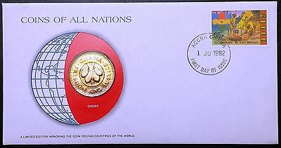 Coins of all Nations Series - 1979 Ghana 50 Pesewas - Coin & Stamp Set - BU