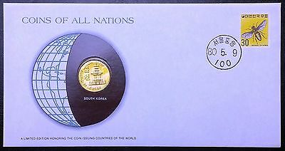 Coins of all Nations Series - 1979 South Korea 10 Won - Coin & Stamp Set - BU