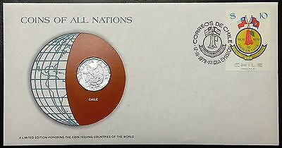 Coins of all Nations Series - 1979 Chile 10 Centavos - Coin & Stamp Set - BU