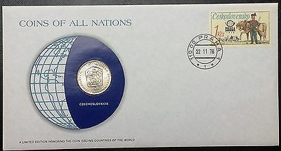 Coins of all Nations Series - 1974 Czechoslovakia 2 Korun - Coin & Stamp Set BU