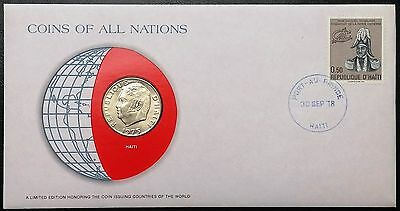 Coins of all Nations Series - 1975 Haiti 50 Centimes - Coin & Stamp Set - BU