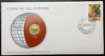 Coins of all Nations Series - 1971 Nepal 10 Paise - Sealed in COA Card - BU