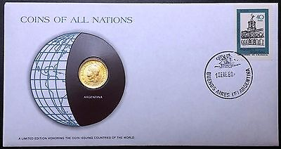 Coins of all Nations Series - 1975 Argentina 50 Centavos - Sealed in Card - BU