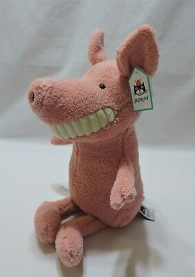 """Jellycat Toothy Pig Plush Stuffed Animal 16"""" Toy Soft Pink Fleece Big Grin Smile"""