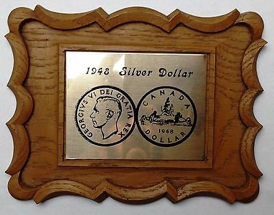 1948 Canada Silver Dollar Wooden Display Frame - Very Unique