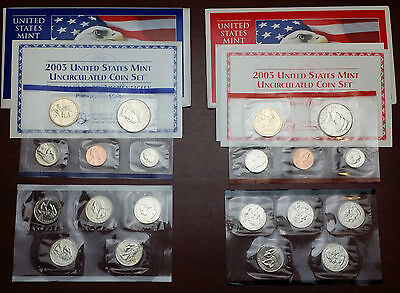 2003 P & D United States Uncirculated Coin Sets - 20 Coins Sealed with COAs