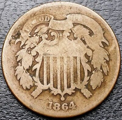 1864 U.S. Shield 2 Cents Coin - Great Condition - Free Combined Shipping