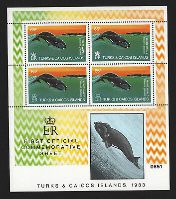 OPC 1983 Turks & Caicos 65c Right Whale Full Sheet Sc#565 MNH