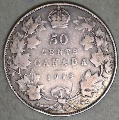 Canada 1913 50 Cents Silver Coin