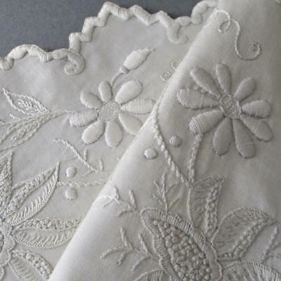 """Vintage 17"""" LINEN Centerpiece HEAVILY Hand Embroidered FLOWERS * White on White"""